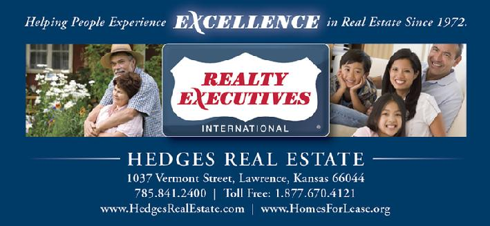 Lawrence Kansas Real Estate - Realty Executives Hedges Real Estate has been helping people Experience Excellence in Real Estate in the Lawrence KS and Northeast KS areas since 1972.  Realty Executives Hedges Real Estate helps buyers and sellers of real estate in Lawrence, KS and the surrounding Lawrence, Kansas areas.